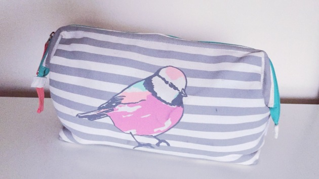 Oliver Bonas multicoloured bird make-up bag